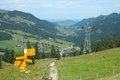 Trail signs direction nearby grosser mythen mountain in alps in switzerland Stock Images