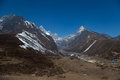 Trail to everest base camp a view of himalayas along the Royalty Free Stock Image