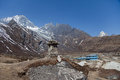 Trail to everest base camp a view of himalayas along the Royalty Free Stock Photo