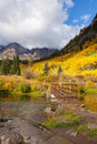 Trail to Maroon Bells in Fall Royalty Free Stock Photo