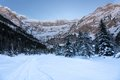 Trail towards the cirque de gavarnie with snow in winter in the pyrenees france Royalty Free Stock Image