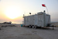 Trailer on the coast in qatar and boat arabian gulf beach Royalty Free Stock Photo