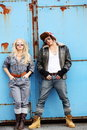 Trailer couple in funky fashion Stock Images
