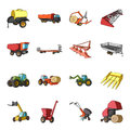 Trailer, dumper, tractor, loader and other equipment. Agricultural machinery set collection icons in cartoon style