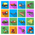 Trailer, dumper, tractor, loader and other equipment. Agricultural machinery set collection icons in flat style vector