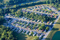 Trailer park neighborhood aerial photo of well kept modern on river in indiana Stock Photography