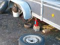 Trailer repairing outdoor on the ground without wheels Stock Images