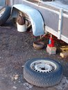 Trailer repairing outdoor on the ground without wheels Royalty Free Stock Images