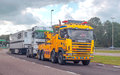 Trailer truck on a highway in the netherlands on a sunny day it is an editorial image september Stock Photography