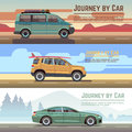 Trailering by car vector banners set