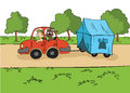 The trailering. Driver with a dog ride in the car with a tent on the trailer. Cartoon vector illustration. Royalty Free Stock Photo