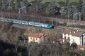 Train aerial view of a passing near orvieto italy Stock Photography