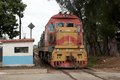 Train along the railway in santa clara cuba Royalty Free Stock Image
