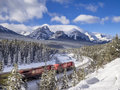 Train in Banff National Park Royalty Free Stock Photo