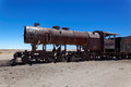 Train boneyard salar de uyuni bolivia south america the where locomotives go to die Royalty Free Stock Photo
