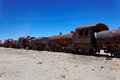 Train boneyard salar de uyuni bolivia south america the where locomotives go to die Royalty Free Stock Photography