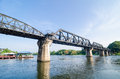 The train Bridge of the River Kwai in thailand. Royalty Free Stock Photo