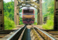 Train and briidge steel in thailand Royalty Free Stock Photography