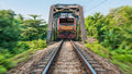 Train and briidge steel in thailand Stock Image