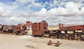Train cemetery, Uyuni, Bolivia Royalty Free Stock Images