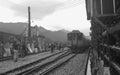 The train coming ruifang station in taiwan Stock Photos