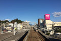 Train coming to the station in hiroshima japan a Royalty Free Stock Images