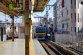 The train coming to station in osaka japan Royalty Free Stock Photography