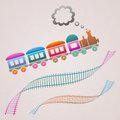Train cute colored retro card with and track Royalty Free Stock Photography