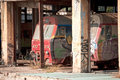 Train depot old trains in an abandoned Royalty Free Stock Photo