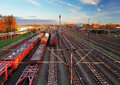 Train freight station cargo transportation at sunset Stock Photo