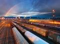 Train Freight transportation platform - Cargo transit Royalty Free Stock Photo