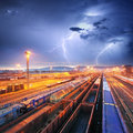 Train Freight transportation at storm - Cargo transit Royalty Free Stock Photo