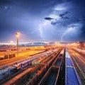 Train Freight transportation at storm - Cargo transit Royalty Free Stock Photo