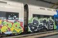 Train full of graffiti Royalty Free Stock Photo
