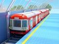Train on futuristic station