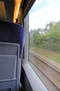 In the train by go away Stock Photography