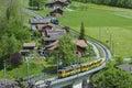 Train in lauterbrunnen valley switzerland Stock Photos