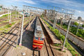 Train leaving the station in Moscow Stock Photography