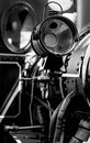 Steam locomotive detail in black and white. Royalty Free Stock Photo
