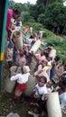 Train madagascar fianarantsoa a woman buying carpet street vendors in one of the stations fianarantsoa Royalty Free Stock Photo