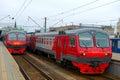 Train on Moscow passenger platform Royalty Free Stock Photo