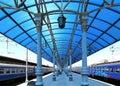 Train on Moscow passenger platform (Yaroslavsky railway station), Russia Royalty Free Stock Photo
