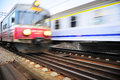 Train motion fast moving trains in krakow poland blured Royalty Free Stock Photos