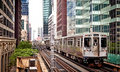 Train moving on the tracks in Chicago Royalty Free Stock Photo