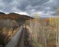 Train and the New England foliage