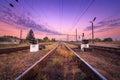 Train platform and traffic light at sunset railroad railway st station Royalty Free Stock Photo