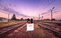 Train platform and traffic light at sunset railroad railway st station Stock Images