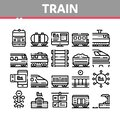 Train Rail Transport Collection Icons Set Vector Royalty Free Stock Photo