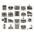 Train Rail Transport Glyph Set Vector Royalty Free Stock Photo