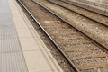 Train rails two different ways Royalty Free Stock Photo